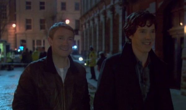 john and Sherlock laughing
